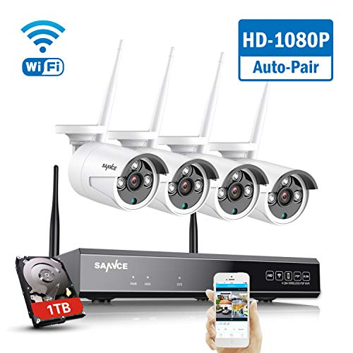8-Channel 4 Camera Wireless 1080p NVR CCTV Security System with 1TB HDD