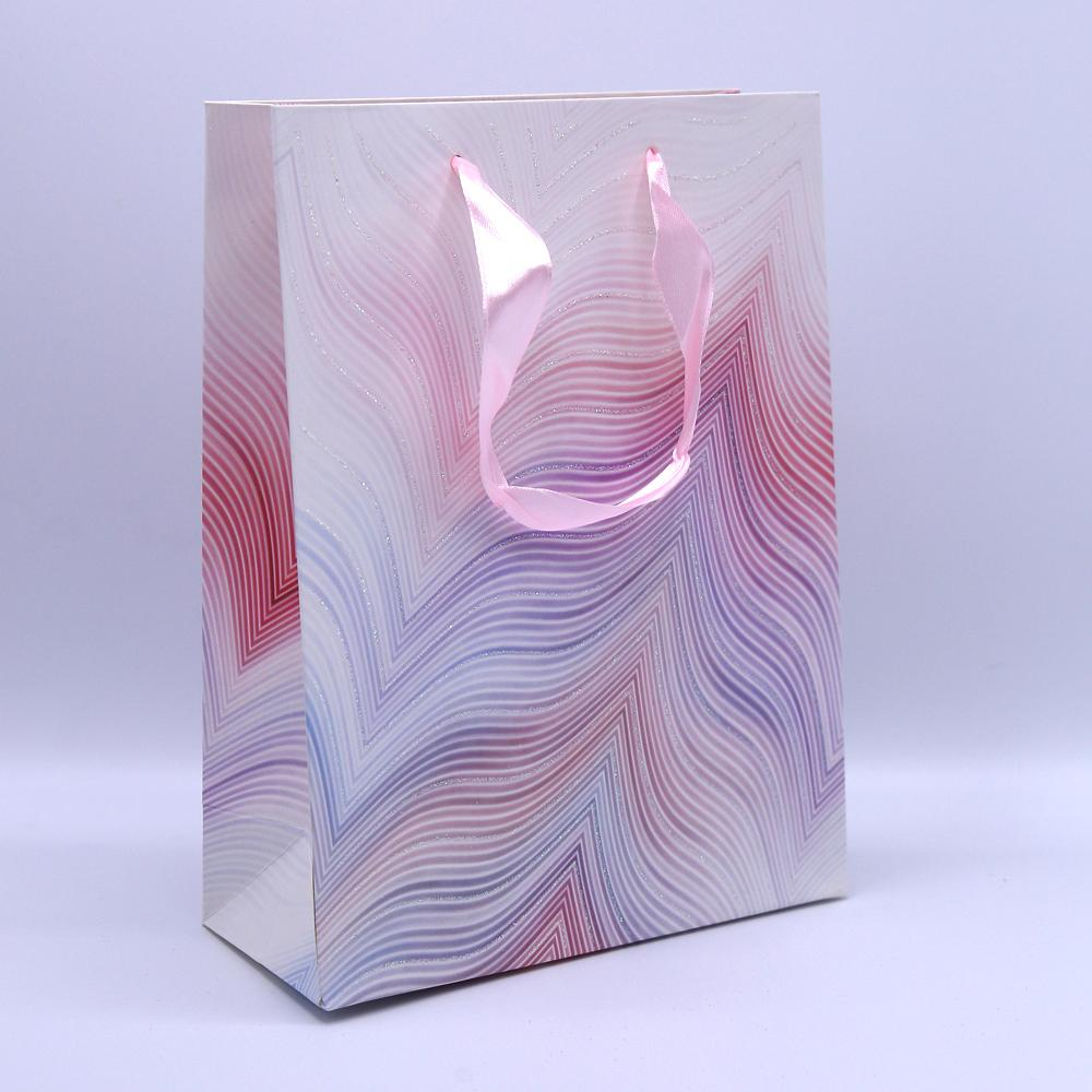 Glitter lines Multi Color Gift Bag - thestationerycompany.pk
