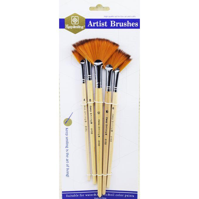 Keep Smiling Fan Brushes Set Of 5 Pieces - thestationerycompany.pk