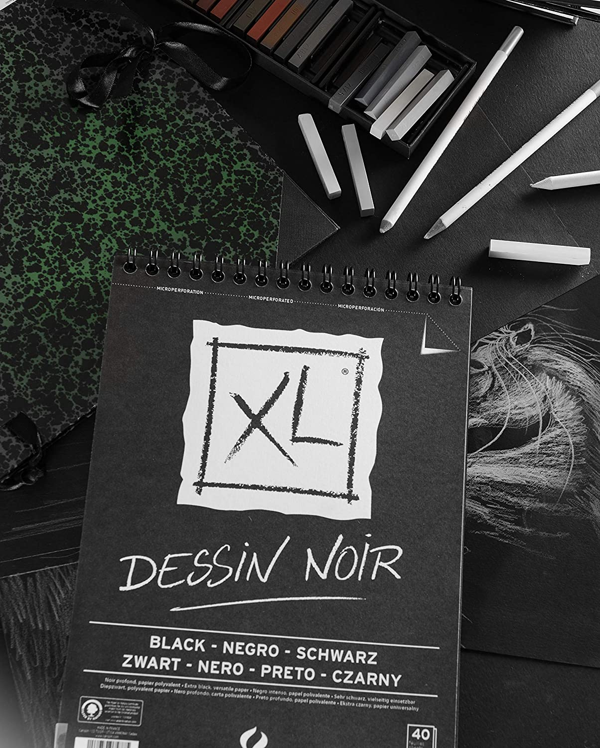 Canson XL Dessin Noir Black Paper Sketch Pad - thestationerycompany.pk