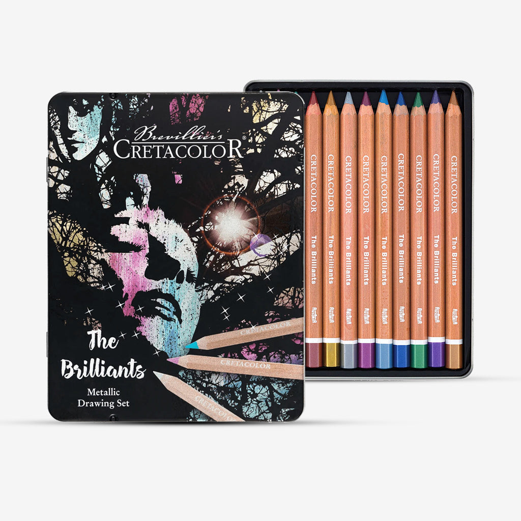 Cretacolor The Brilliants Metallic Color Pencils Tin Box Of 12 Pcs
