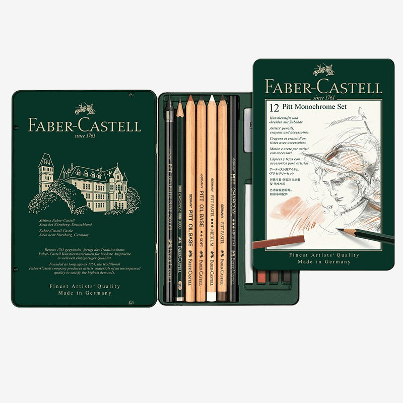 Faber Castell Pitt Monochrome Set Tin of 12