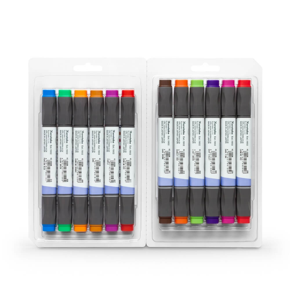 ZIG Kurecolor Brilliant Color Marker Set Of 12
