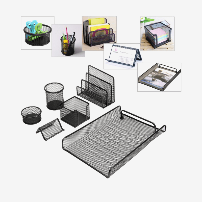 Mesh Office Desk Organizer Set 6Pcs - thestationerycompany.pk