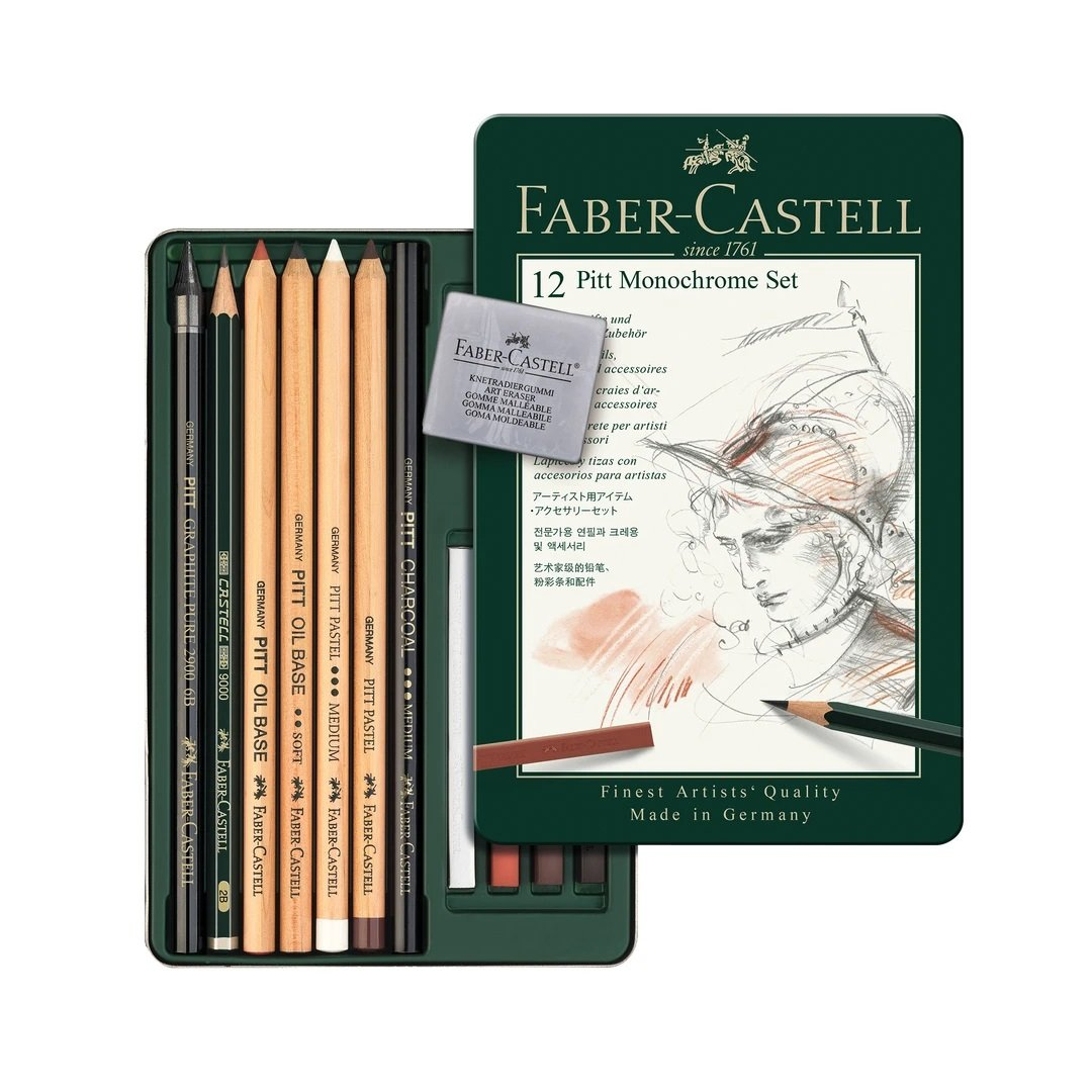 Faber Castell Pitt Monochrome Set - Tin of 12 - thestationerycompany.pk