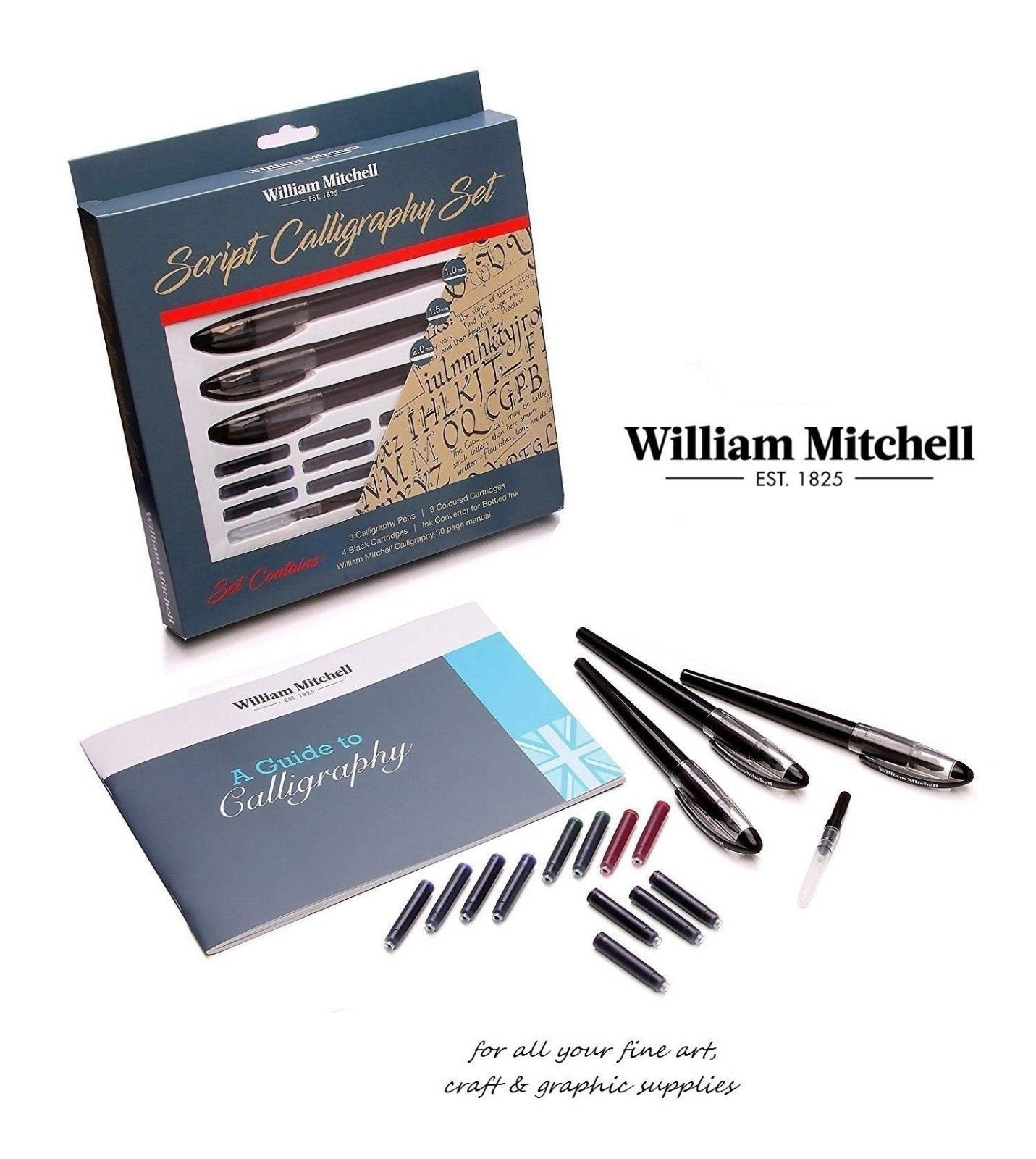 William Mitchell Script Calligraphy Set 17Pcs - thestationerycompany.pk