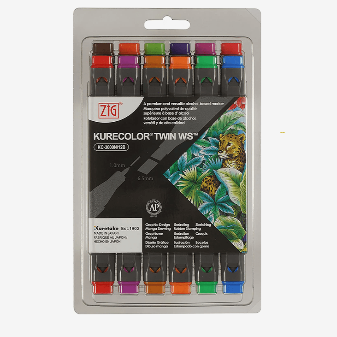 ZIG Kurecolor Brilliant Color Marker Set Of 6 - thestationerycompany.pk