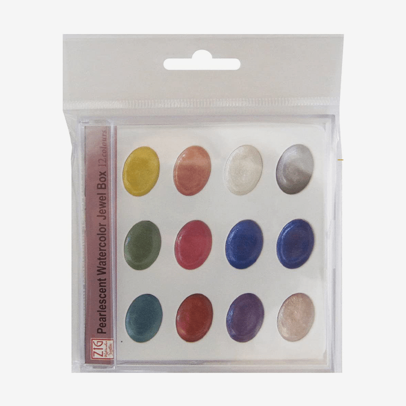 Zig Watercolor System Pearlescent Watercolor Jewel Box 12 Colors Set - thestationerycompany.pk