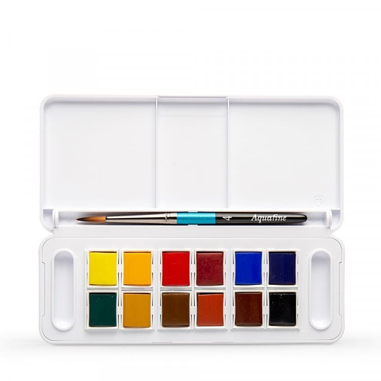 Daler Rowney Aquafine Transparent Watercolor Travel Set of 12 - thestationerycompany.pk