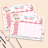 Unicorn Back To School Time Table Style Two