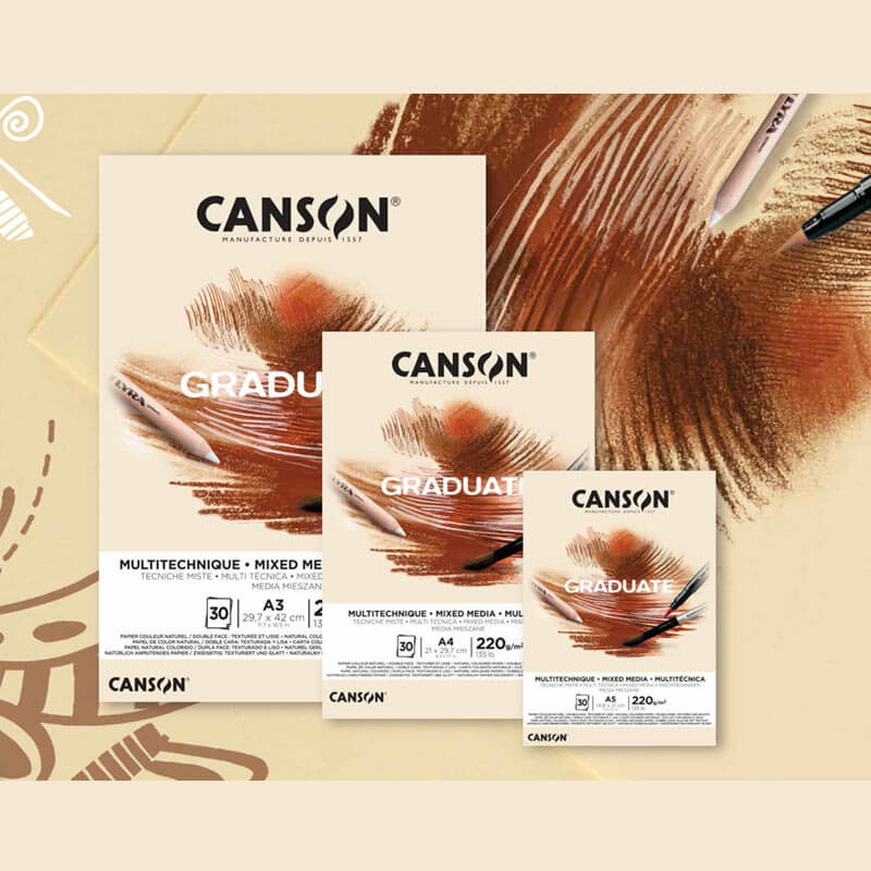 Canson Graduate Mixed Media Pad Yellow Ochre 220 gsm.