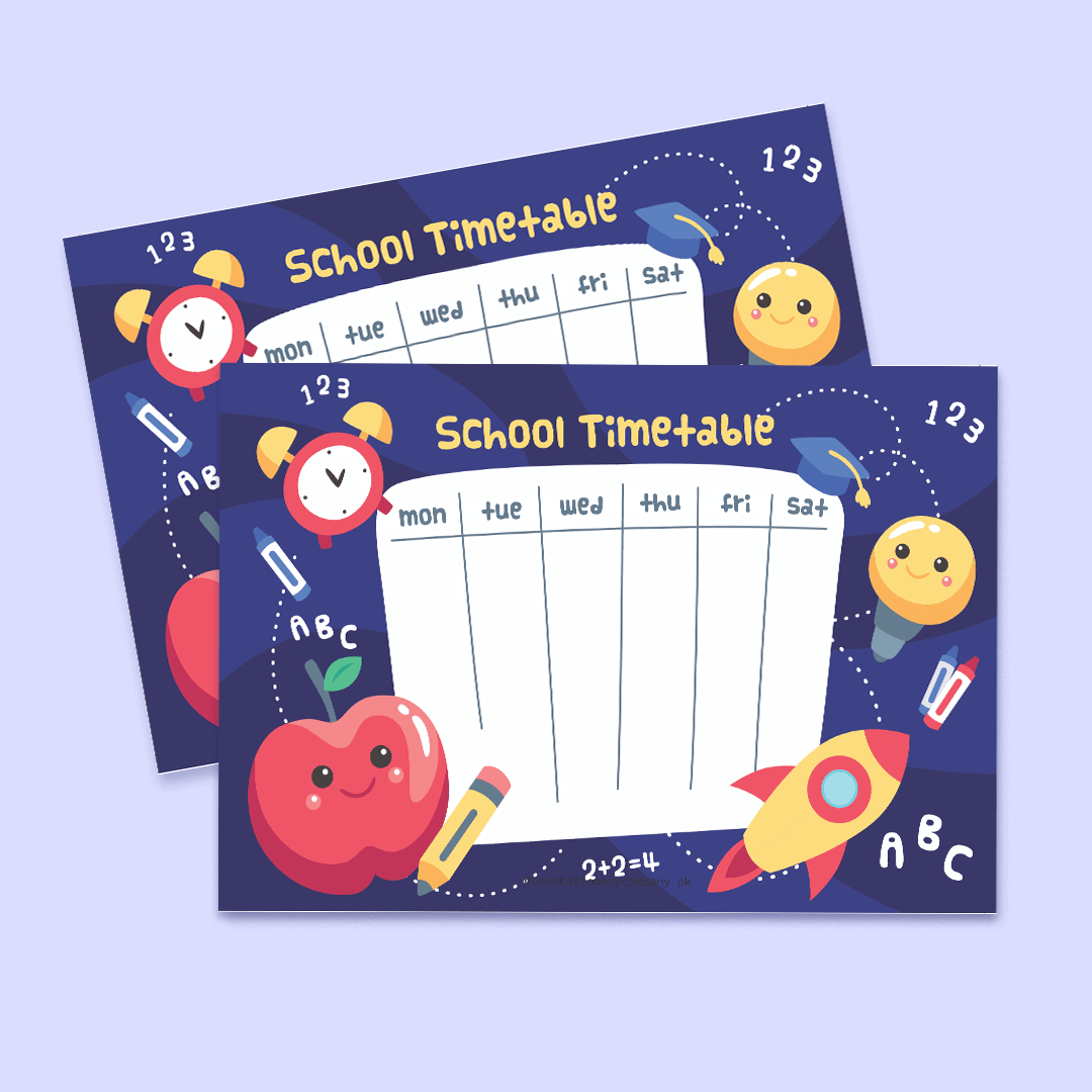 School Weekly Time Table For Kids