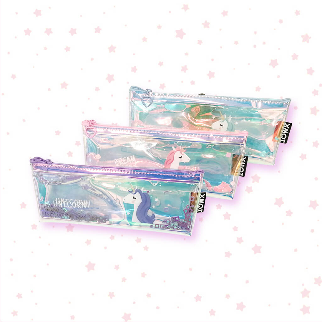 Unicorn Transparent Water Glitter Pouch