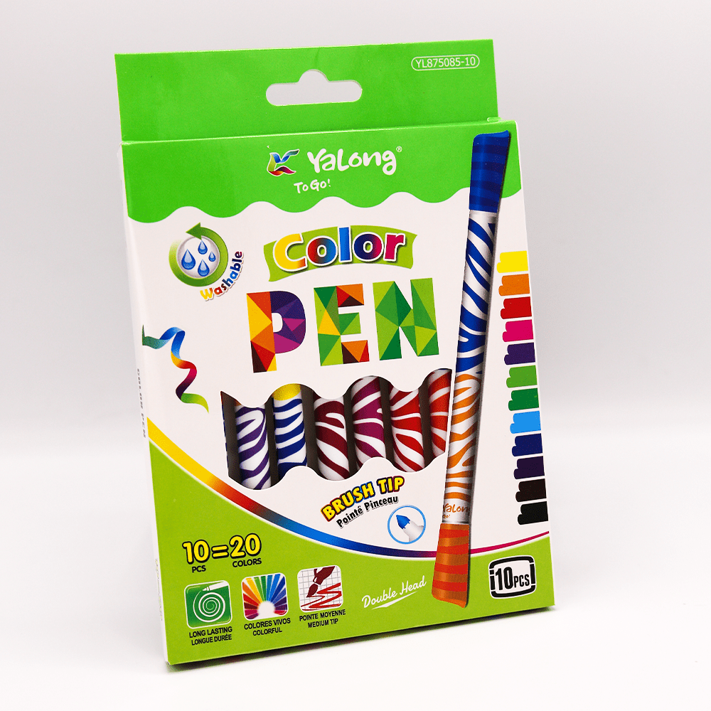 Yalong Color Pen Double Head Pack Of 10 - thestationerycompany.pk