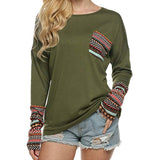 Women's Long Sleeve O-Neck Patchwork