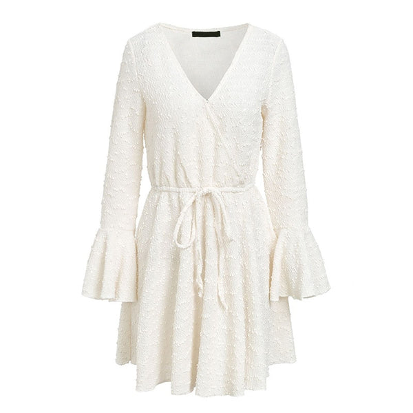Elegant ruffle v neck autumn dress