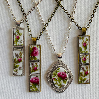 Vintage Floral Mosaic Pendant Necklace - Mosaics at the Farm