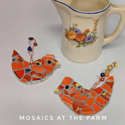 Mosaic Bird Ornaments with beaded wire for hanging SET OF TWO - Mosaics at the Farm