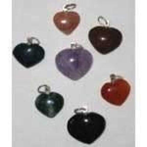 Heart Pendant Necklace - Various Stones - Green Apothecary, Inc. - 4942