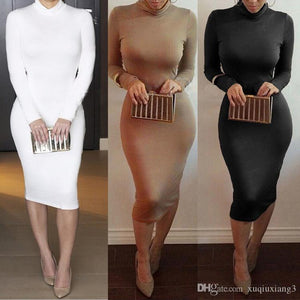 2018 Autumn And Winter Women High-Collar Cashmere Long Sleeve Dress Turtleneck Bandage Dress Hip Bodycon Dress Nightclub Dresses