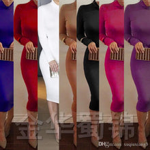 Load image into Gallery viewer, 2018 Autumn And Winter Women High-Collar Cashmere Long Sleeve Dress Turtleneck Bandage Dress Hip Bodycon Dress Nightclub Dresses