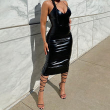 Load image into Gallery viewer, Hugcitar 2020 Pu Leather Sleeveless Bodycon Maxi Dress Autumn Winter Women Fashion Streetwear Outfits Party Elegant Wear