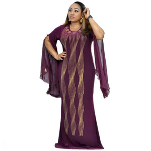 African Dresses for Women Dashiki Diamond African Clothes Bazin Broder Riche Sexy Slim Ruffle Sleeve Robe Evening Long Dress