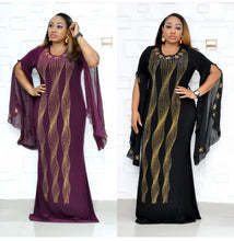 Load image into Gallery viewer, African Dresses for Women Dashiki Diamond African Clothes Bazin Broder Riche Sexy Slim Ruffle Sleeve Robe Evening Long Dress