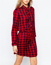Load image into Gallery viewer, The European and American Fashion Women s clothing Red Plaid Long Shirts Dress