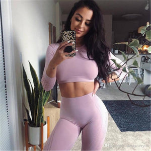 New long sleeve exercise tshirt womens sexy close fitting sports shirt navel fitness clothes quick drying running Yoga top