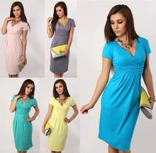 Load image into Gallery viewer, plus size women clothing bodycon Slim package hip sexy V-neck stretch dresses party dress fashion dresses also best for pregnant women party