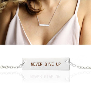 "Churchill Quote ""Never Give Up Motivational Pendant"