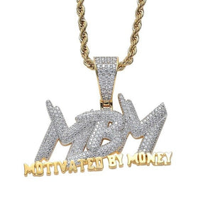 New Fashion Motivated By Money Iced Out Necklace For Mens Party Bling Bling Rock