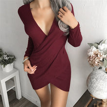 Load image into Gallery viewer, Slim Sweater Dress Autumn Winter 2018 New Arrivals Long Sleeve Bodycon Dresses Deep V Neck Ladies Knitted Sweater Dress FS5838
