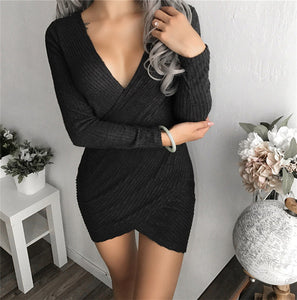 Slim Sweater Dress Autumn Winter 2018 New Arrivals Long Sleeve Bodycon Dresses Deep V Neck Ladies Knitted Sweater Dress FS5838