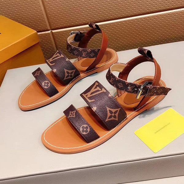 The 2109 new Luxury Womens sandals fashion designer real leather print flip flop summer Classics shoes flats Beach sandals With original box