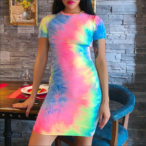 Spaghetti straps tie dye print Dress Pants Sets sexy sling camis Colorful Print partyclub holiday Mini Short 2 piece Skirt Set