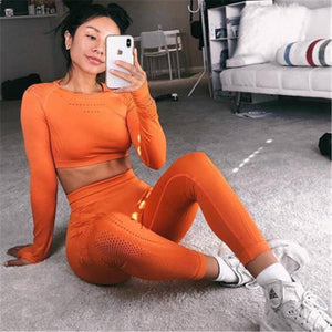 New long sleeve exercise tshirt womens sexy close fitting sports set