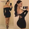 Summer Long Sleeve Slash Neck Hollow Bandage Bodycon Night Club Party Dress Woman Clothes