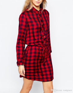 The European and American Fashion Women s clothing Red Plaid Long Shirts Dress lapel Long-Sleeved Dresses For Women 2016 Hot Sale