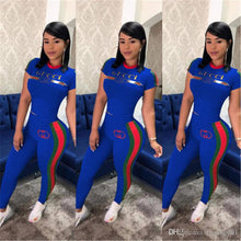 Load image into Gallery viewer, Women Printed Two Piece Sets Designer Short Sleeves Tracksuit Summer Stripe Short Sleeves Pants Outfits Casual Sweatshirts Sports Suit S-3XL