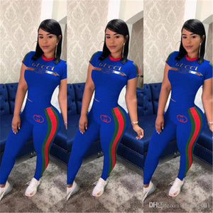 Women Printed Two Piece Sets Designer Short Sleeves Tracksuit Summer Stripe Short Sleeves Pants Outfits Casual Sweatshirts Sports Suit S-3XL