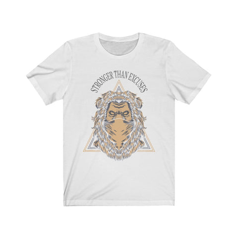 Stronger Than Excuses  Lion Tee White