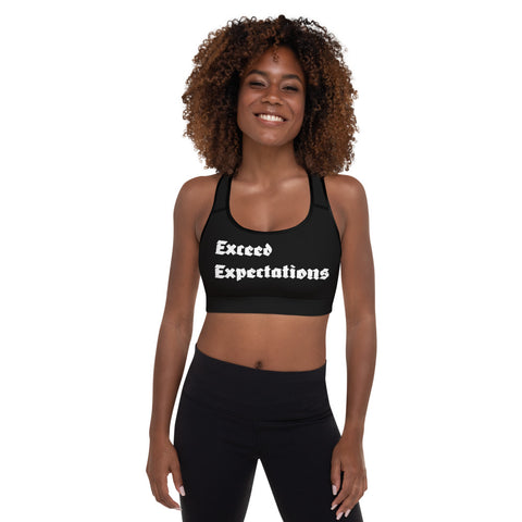 Exceed Expectations White Logo Sports Bra