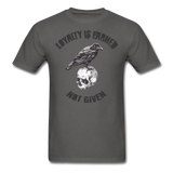 Loyalty Is Earned Raven Tee - charcoal