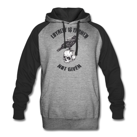 Loyalty Is Earned Raven Hoodie - heather gray/black