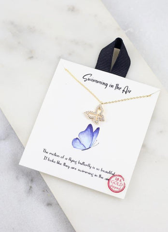 Cz Butterfly Necklace Gold