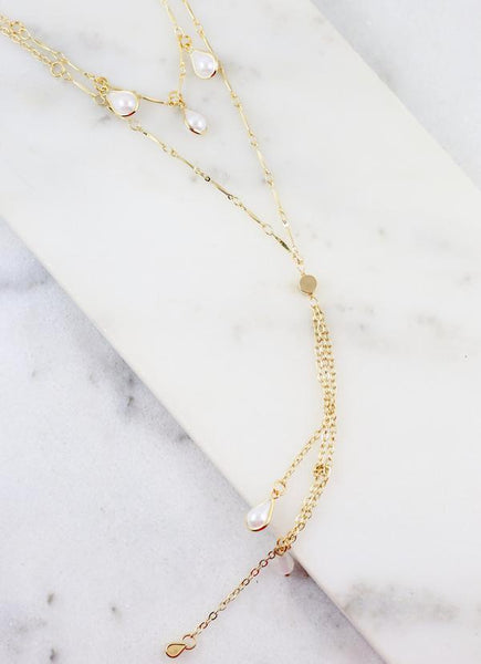 Layered Necklace w/ Pearl Teardrop