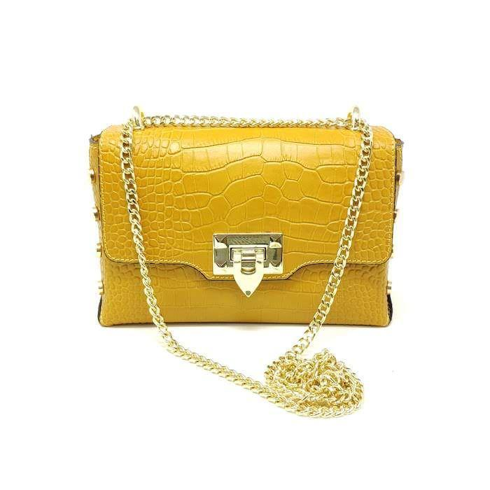 Yellow Leather Crossbody
