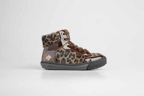 Girls Art Footwear Brown Cheetah Print High Top Shoe Dover Style A519